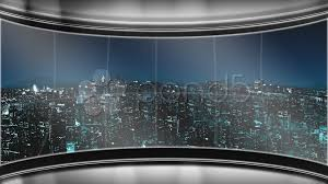 HD Virtual TV Studio News Set With City Skyline In The Background Footage 000606353