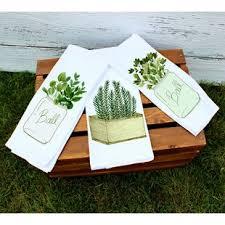 3 Piece Farmhouse Herb Kitchen Towel Set