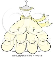 Royalty Free RF Clipart Illustration of a Cream And Yellow Wedding Dress With Roses A Hanger by Pams Clipart