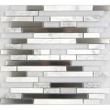 carrara white marble linear glass metal mosaic tile bargain outlet
