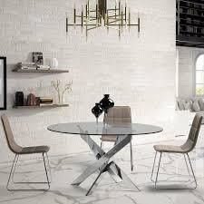 ambiato esstisch ruth rund 120cm chrom gestell glasplatte glastisch runder küchentisch konferenztisch glasesstisch