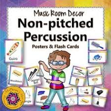 Music Room Decor Non Pitched Percussion Instrument Posters Flash Cards