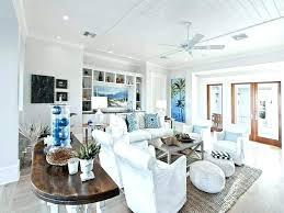 Coastal Wall Shelves Light Blue Armchair Enchanting Living Room White