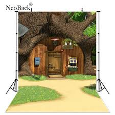 100 Tree House Studio Wood Thin Vinyl Tree House Flowers Grass Wooden Door Children Photography Studio Backgrounds Professional Indoor Photo Backdrops