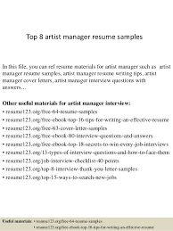 Top 8 Artist Manager Resume Samples In This File You Can Ref Materials For