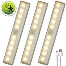3 pack lhomeled usb rechargeable infrared induction led light