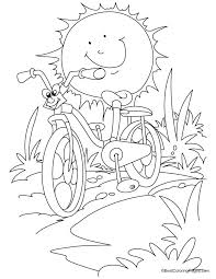 Cartoon Racing Bicycle Against The Sun Coloring Page