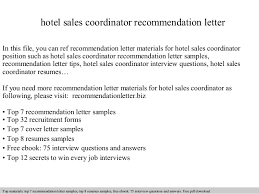 Hotel Sales Coordinator Recommendation Letter In This File You Can Ref Materials For Sample