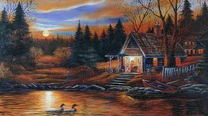 Thomas Kinkade Christmas Tree Cottage by Cottages Tag Wallpapers River View Emerald Grass Town Boat