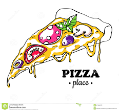 Vector Pizza slice drawing Hand drawn doodle pizza illustration