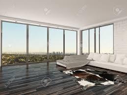moderne minimalistische wohnzimmer innenraum mit einem großen bequemen weißen sofa tierhaut auf dem holzparkettboden weiße backsteinwände und große