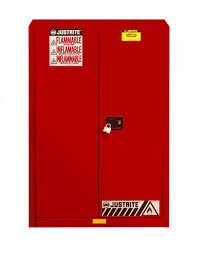 Flammable Liquid Storage Cabinet Grounding by Flammable Safety Cabinet 45 Gal 2 Shelves 2 Doors Justrite