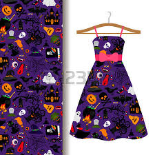 Women Dress Fabric Pattern Design On A Hanger With Colorful Halloween Symbols Vector Illustration