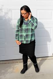 Green And Navy Plaid Button Up Shirt With Black Denim Pencil Skirt Boots Modest