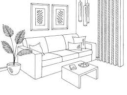 living room graphic black and white interior sketch illustration