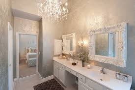 wallpaper in bathroom with master bath handshower