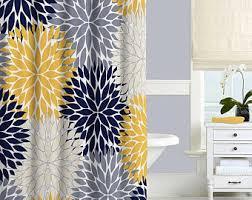 dahlia shower curtain navy blue pink gray shower curtain