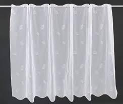 scheibengardine mit blättermuster 120 cm hoch breite der gardine durch gekaufte menge in 16 cm schritten wählbar anfertigung nach maß weiß