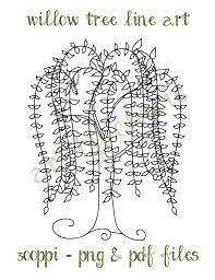 Willow Tree Line Art Clip PNG And PDF Files Graphics Digital Download File
