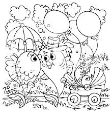 Kissing Fish Walking Their Baby Coloring Pages