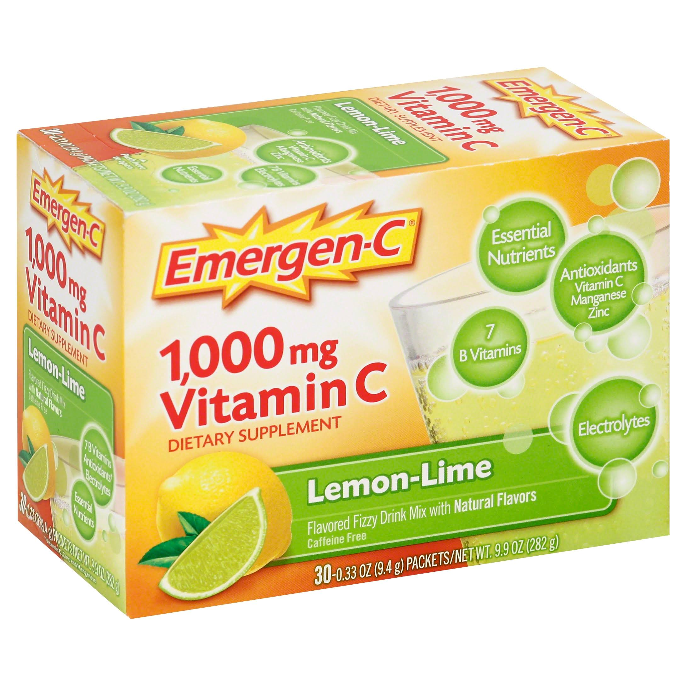 Emergen-C Vitamin C Flavored Fizzy Drink Mix - Lemon Lime, 10 Pack