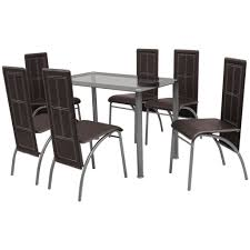 Amazon.com: VidaXL Brown Metal 7 Pcs Dining Set Table 6 ... Details About Set Of 5 Pcs Ding Table 4 Chairs Fniture Metal Glass Kitchen Room Breakfast 315 X 63 Rectangular Silver Indoor Outdoor 6 Stack By Flash Tarvola Black A 16 Liam 1 Tephra Alba Square Clear With Ashley 3025 60 Metalwood Hub Emsimply Bara 16m Walnut Signature Design By Besteneer With Magnificent And Ding Table Glass Overstock Alex Grey Counter Height