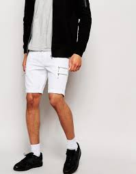 asos denim shorts in super skinny fit with zips in white for men