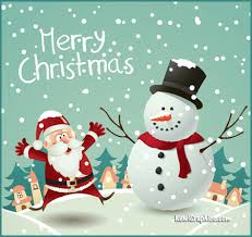 Merry Christmas Santa Snowman In The Snow Graphic plus many other