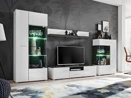mirjan24 wohnwand solido wohnzimmer set mit led beleuchtung stilvoll anbauwand weiß weiß hochglanz norwegische kiefer