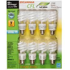 sylvania 60w compact fluorescent cfl light bulb 8 pk soft