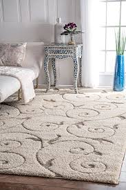 Shaggy Area Rug Plush Soft Living Room Rugs Bedroom Mat 9x12 3D Design Cream