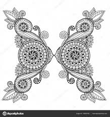 Henna Paisley Mehndi Doodles Design Tribal Element Black And White Pattern For Coloring Book Adults Kids Vector By JuliaSnegireva