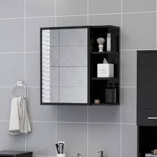 bad spiegelschrank hochglanz schwarz 62 5x20 5x64 spanplatte