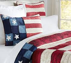 Old Glory Flag Quilt And Sham Pottery Barn Red White Blue Bedding