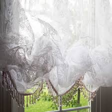 Lace Curtains Panels With Attached Valance by White Chic Crystal Fringe Bead Balloon Baroque Balloon Flocked