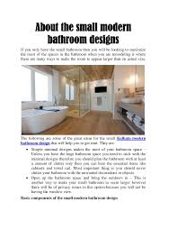 about the small modern bathroom designs
