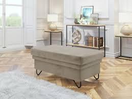 details zu polsterhocker polia stilvoll sitzhocker mit metallfüße sitzbank wohnzimmer