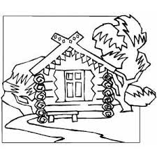 Wood House In The Forest Coloring Page