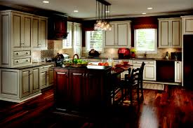KitchenNice Looking Kitchen Design With L Shape White Cabinet And Dark Wooden Flooring