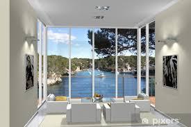 tischaufkleber und schreibtischaufkleber 3d rendering wohnzimmer im erker