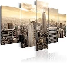 decomonkey bilder new york 200x100 cm 5 teilig leinwandbilder bild auf leinwand wandbild kunstdruck wanddeko wand wohnzimmer wanddekoration deko