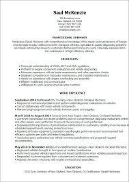 Resume Sample Entry Level Diesel Mechanic