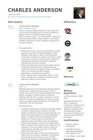 Construction Manager Resume Template Samples Visualcv Database Printable