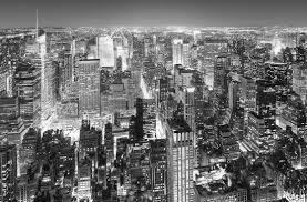 poster géant vue aérienne de new york en noir blanc acheter