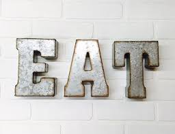 EAT Sign Metal Letters Wall Decor Eat Kitchen Rustic Letter