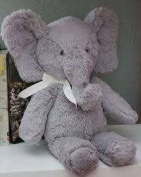 Pottery Barn Kids Plush ELEPHANT Gray White Bow 13