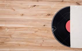 Top View Of Vinyl Record Over Wooden Table Stock Photo Picture And