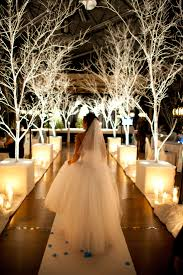 05 Lit White Trees Are A Great Idea For Winter Wonderland Wedding Aisle