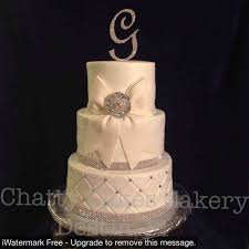 With Bling Having Gold Cake Coral Roses And Rhinestone Initial Beautiful Wedding Cakes