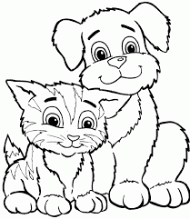 Color Dogs And Cats Cute Cat Dog Coloring Pages Printable